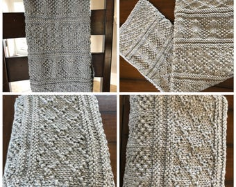 Guernsey style knit baby blanket