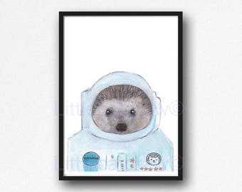 Space Hedgehog Print Watercolor Painting Astronaut Print Wall Decor Animal Art Space Hedgehog Art Print Wall Art Hedgehog Lover Gift