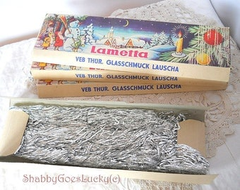 Christmas tinsel lametta, German vintage silver tinsel 1970s in original box, old Christmas glitter ornament
