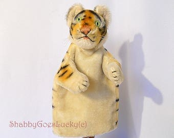 Steiff tiger hand puppet made 1965 - 78, old mohair glove puppet animal, collectible puppet theatre tiger with excelsior stuffed head