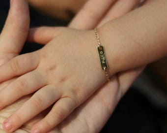 Baby name bracelet. Hebrew nameplate bracelet. Personalized bracelet. Gift for baby. Gold bracelet. Name plate bracelet. Bar bracelet. baby