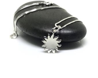 Sterling Silver Sun Necklace Sun Charm Dainty Necklace Tiny Charm Solar Jewelry Delicate Small Minimal Everyday Necklace Gift For Her