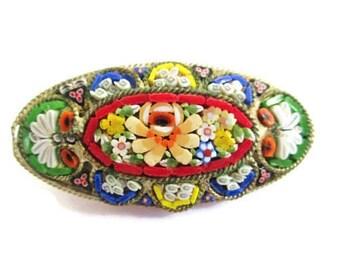 Italian Micro Mosaic Pin/ Elongated Oval Micromosaic Brooch/Floral Millefiori Silver Tone  Pin/ Yellow Flowers Roped Bezel Pin