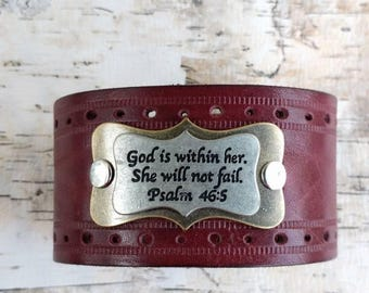 God is within her, She will not fail, Psalm 46:5, Leather Cuff, Upcycled Belt, Repurposed, Burgundy Leather, Perforated, LookSomethingShiny