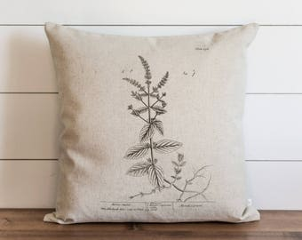 Botanical Horse Mint 20 x 20 Pillow Cover // Everyday // Herbs // Gift // Accent Pillow