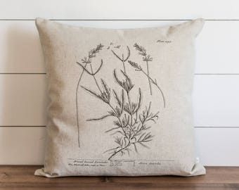 Botanical Lavender 20 x 20 Pillow Cover // Everyday // Herbs // Gift // Accent Pillow