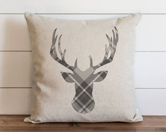Gray Plaid Deer 20 x 20 Pillow Cover // Christmas // Holiday // Winter // Throw Pillow // Gift // Accent Pillow