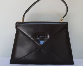 1960s Dark Brown leather Envelope Bag by Suzy Smith