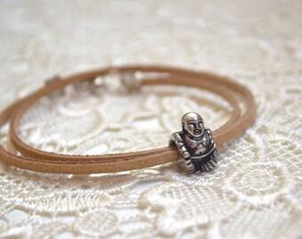 Buddha bracelet Pandora charm leather bracelet Meditation yoga Buddhism men's accessory gifts for men Bohemian jewelry Gift for him chakra