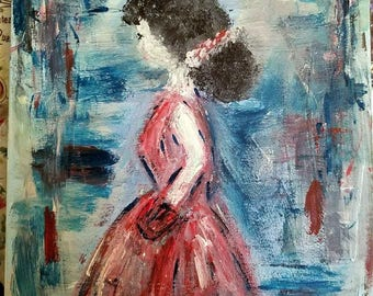 Girl in Red Painting
