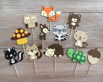 Woodland Cupcake Toppers. Set of 12. Woodland Animal Cupcake Toppers.