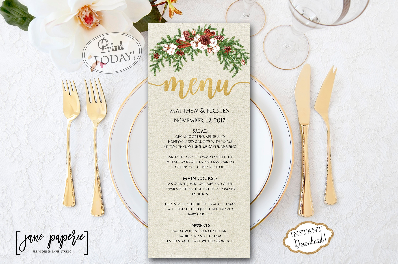 instant download wedding menu template christmas dinner