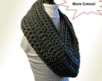 Infinity Scarf Cowl EXTRA Long Handmade Crochet Winter Infiniti Loop Scarf  CHOOSE a Color Black, Cream, Blue, Green,  Purple, Gray or Other