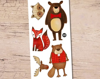 Temporary Tattoos - Hector the beaver and his friends