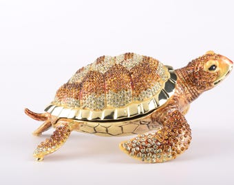 Large Brown Sea Turtle Faberge Style Trinket Box Decorated with Swarovski Crystals Handmade by Keren Kopal