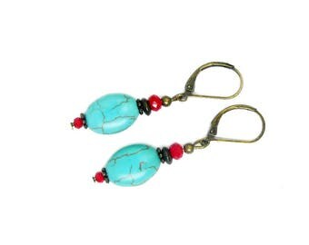 Red and turquoise beads earrings bronze vintage