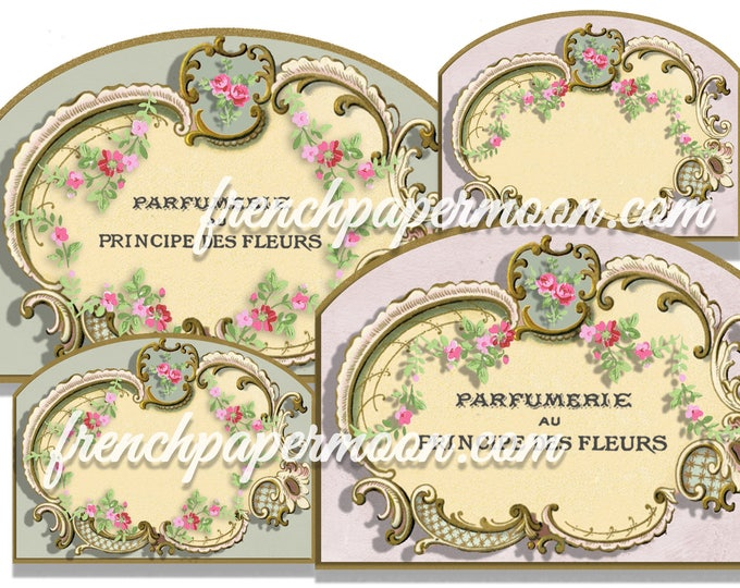 Vintage Rose Wreath Blank LABEL Printable TAG Shabby Chic Display Card Victorian Gift Tag Jewelry Holders Collage Sheet Instant Download