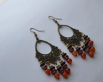 """Earrings """"Satya"""" orange agate, Czech glass beads"""