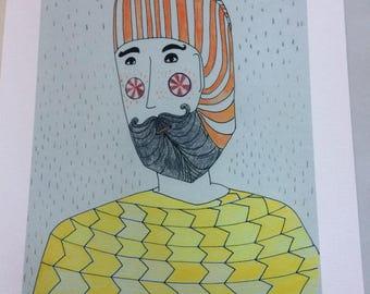Man in hat in the rain.