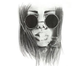Portrait // Black and white pencil portrait girl sunglasses handmade illustration graphite