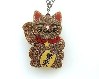 Maneki neko cat necklace - Prosperity