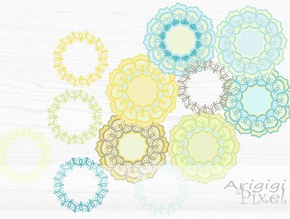 wreaths & flowers - digital clip art set - hand drawn  - blue, green