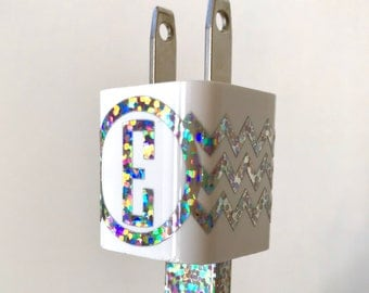 Chevron Monogram CHARGER Decal and USB WRAP Monogram Hologram Charger iPhone iPod Decal