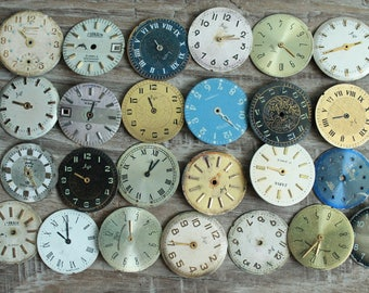 """vintage watch faces -  set of 25 (0.85""""-21 mm watch faces USSR - watches dials - supply dials - Old Vintage watch parts - steampunk supplies"""