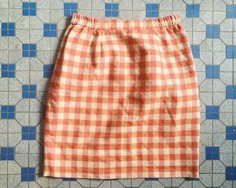 Vintage Japanese high waist plaid checker mini skirt