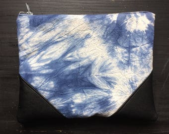 Hand dyed cotton recycled leather pouch blue white