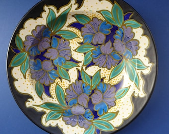Large ART DECO Gouda Pottery Wall Plate or Charger. Rarer Hasler Pattern; c 1928
