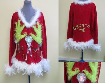 Tacky Ugly Christmas Sweater, Light up, Sweater Light UP Sweater Fuzzy Furry Lime Green Funny, Foo Foo Feathers, Sexy Sweater,