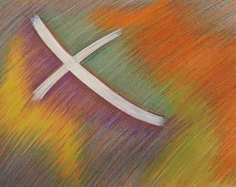 Cross I / Religious / Jesus / Christ / Religious Wall Art / Wall Art / Christian Wall Art / Cross Art / Cross Artwork / Rainbow