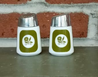 Salt and Pepper Shakers-- Vintage 1960's Midcentury Modern Milk Glass Shakers Featuring Olive Green Morning Glory Pattern by Dispensers Co.