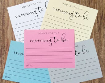 Advice For The Mommy To Be Cards - New Mommy Baby Shower Game Card - Pink Blue Cream Grey White - Printed Advice Cards