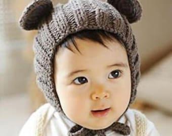 Crochet Knit Bear Hat and Teddy Set