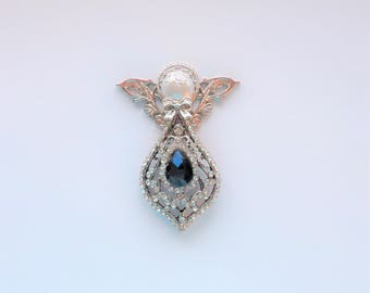 Antique Silver and Teardrop Sapphine Crystal with Rhinestones Angel Pin