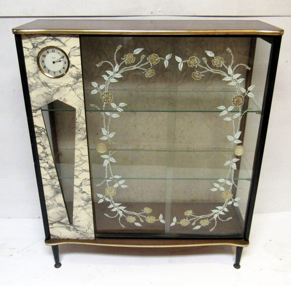 Art Deco display cabinet with clock mid century
