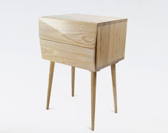 Nightstand Mid Century modern made of solid ash wood / wood Bedside table with drawers / bedroom furniture