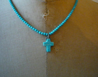Vintage Native American Turquoise Bead Turquoise Cross Silver Plate Pendant Necklace