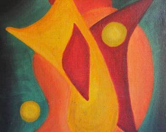 25% OFF SALE - Mid-Century Abstract Painting