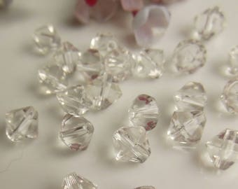 set of 10 clear glass beads