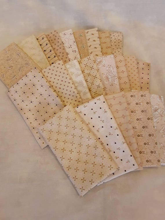 Kim Diehl Neutral Fat Eighth Quilt Fabric Bundle Of 22 Butter Churn Basics from Henry Glass Fabrics.  Hand Cut Creamy Background Materials