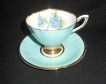 "Lovely ""Clare"" Light Blue Teacup and Saucer"