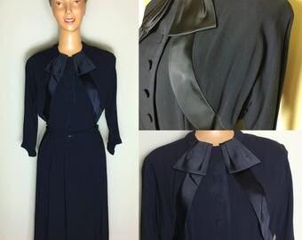 ORIGINAL 1940's RAYON Crepe Black Dress by Cohen Bros