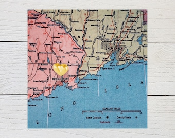 Bridgeport Map, Connecticut Heart Map, Bridgeport Connecticut, Connecticut Gift, Hometown Heart, Vintage Photo Wall Decor, Map Photography