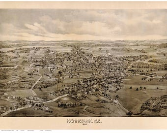 Kennebunk Maine - 1886  G. E. Norris - Birds Eye View Reprint