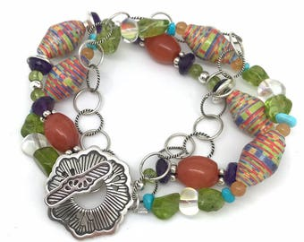 Triple Strand Bracelet with Mixed Gemstone and Paper Beads // bracelets // Sterling Silver // Paper Mache beads // gifts for her // luxury