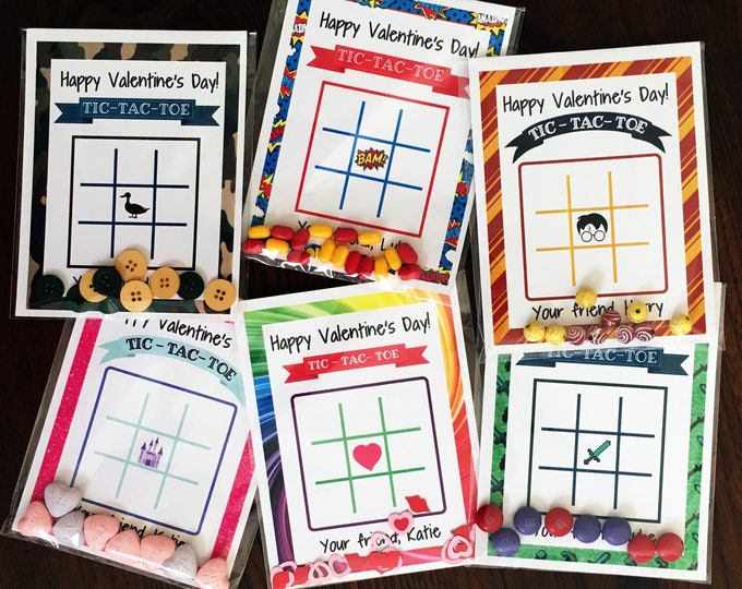 Valentine's Day Cards - Tic-Tac-Toe game - Set of 32