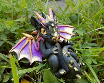 Black and Golden Baby Dragon with Aventurine